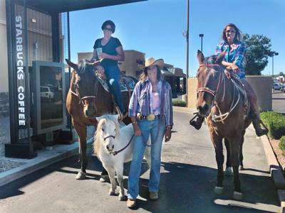Horses at Starbucks Myndi Brogdon Kelsy Brogdon Holly Pedalino