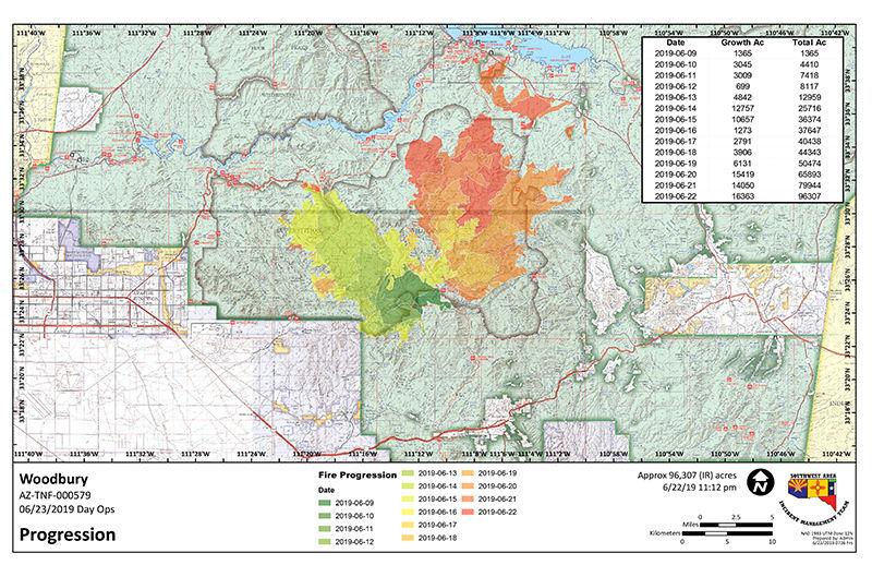Woodbury Fire progression map June 23