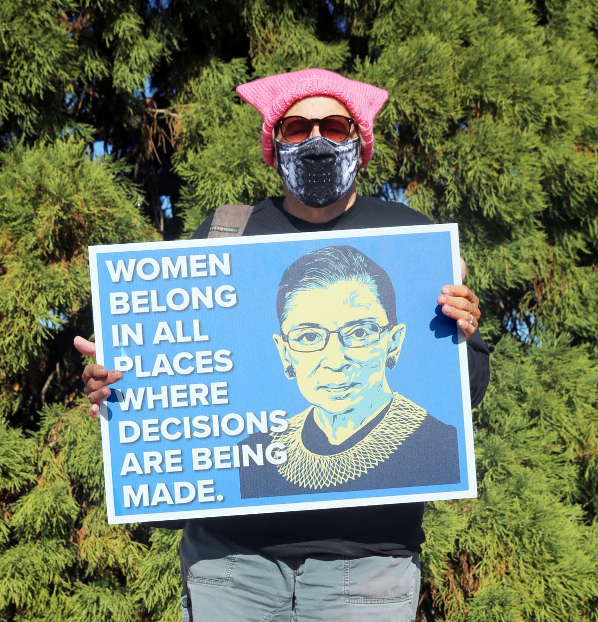 Pink hat, sign about Ruth Bader Ginsburg 2020 Payson Women's March