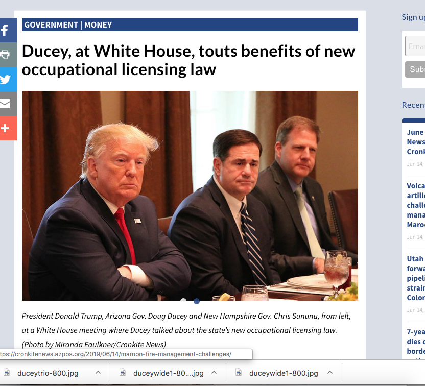 Ducey, at White House, touts benefits of new occupational licensing law
