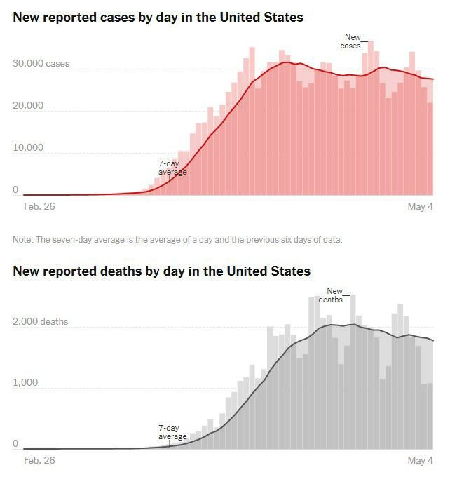 chart of us covid deaths, cases