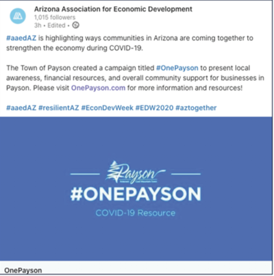 Arizona Association for Economic Development OnePayson announcement 2020