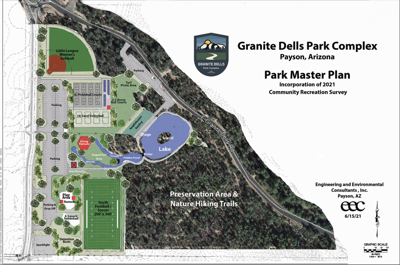 Redesigned Granite Dells Park without community center town hall granite dells