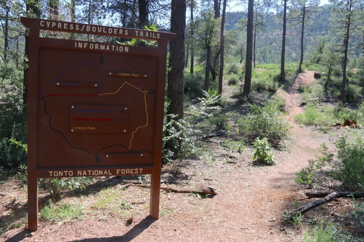 Phoenix trail access - 14 Cypress Boulders trail sign
