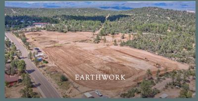 Aerial view Granite Dells Complex park earth work