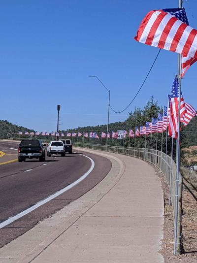 Flags along Hwy 87 for 4th of July Lions Club