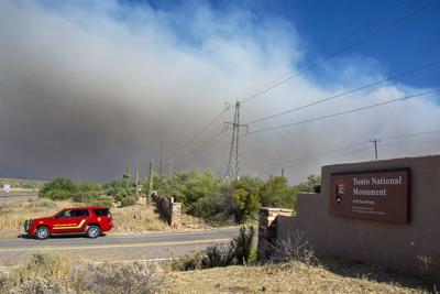Smoke from the Woodbury Fire on Thursday