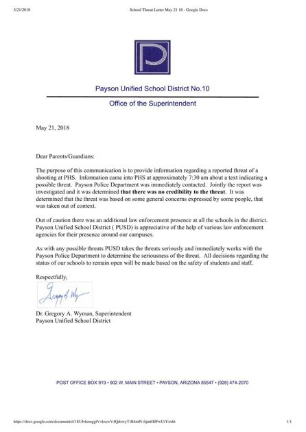 Payson Unified School District responds to shooter threat