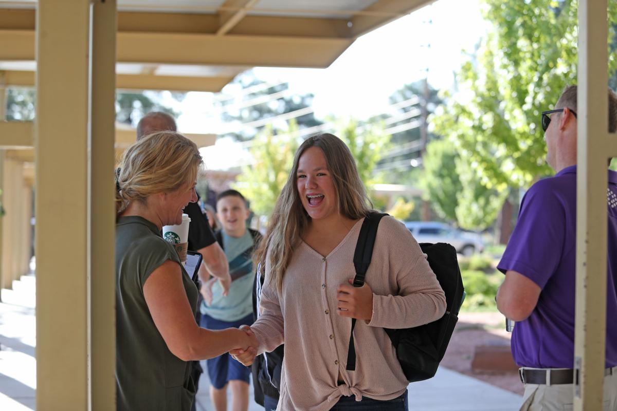 RCMS 1st Day-Jennifer White Greets Student