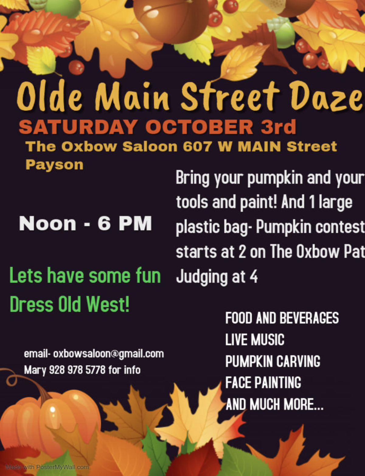 OwBow poster for the 2020 Olde Main Street Daze