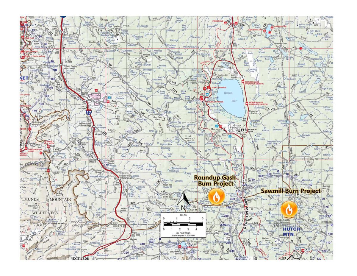 Coconino National Forest prescribed burns Roundup Gash Burn Project, Sawmill Burn Project