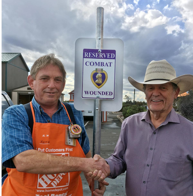Tom Morrissey Kevin Carpenter Home Depot veteran parking sign