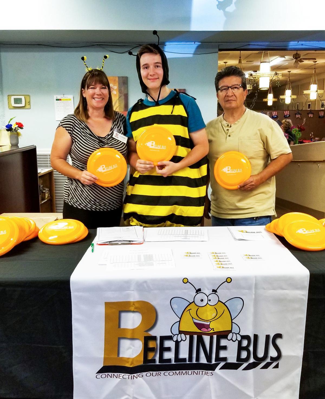 Beeline Bus re-launch party July 5 Debbie, Buzz and Michael