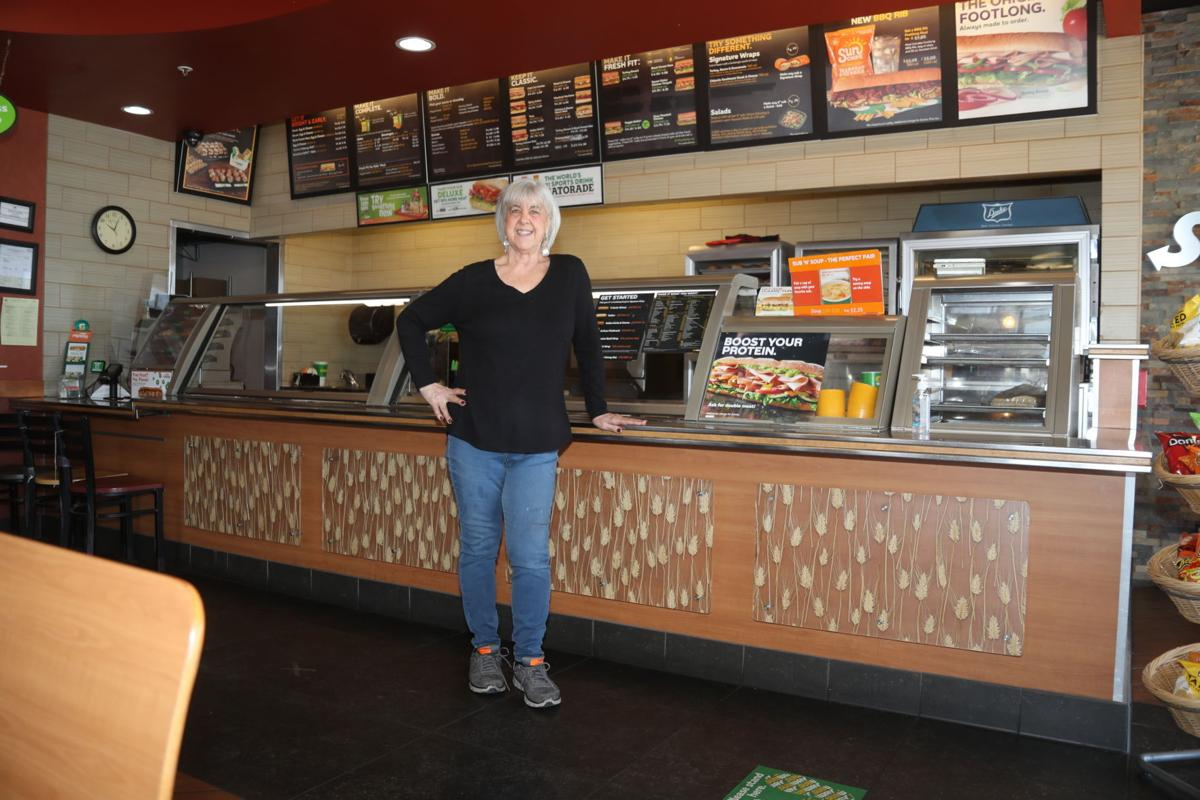 Kathy James In Front of Subway Counter Horizontal