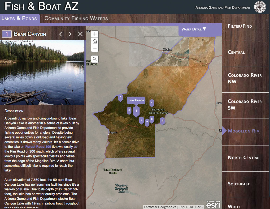 Map Of Arizona Only.Get Hooked On Azgfd S Enhanced Online Fish Boat Az Map News