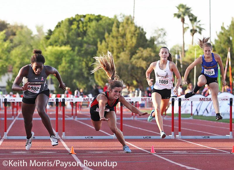 Track Girls 300 Hurdles Finish