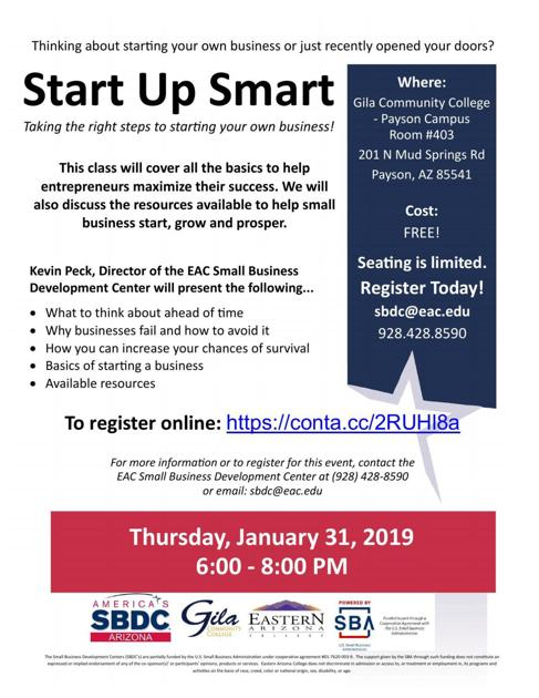 Free seminar Start Up Smart for Small Business offered at