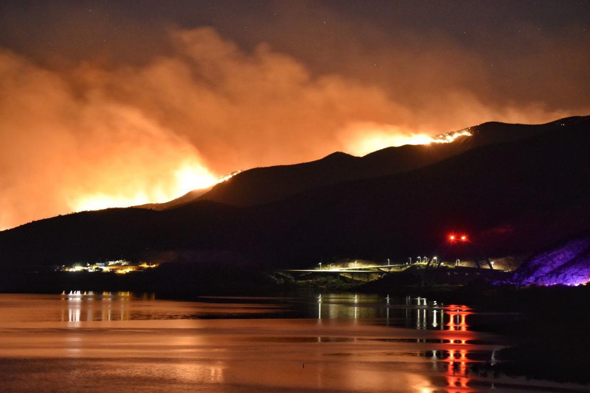 Fire update 1 Woodbury fire burning at night lake roosevelt