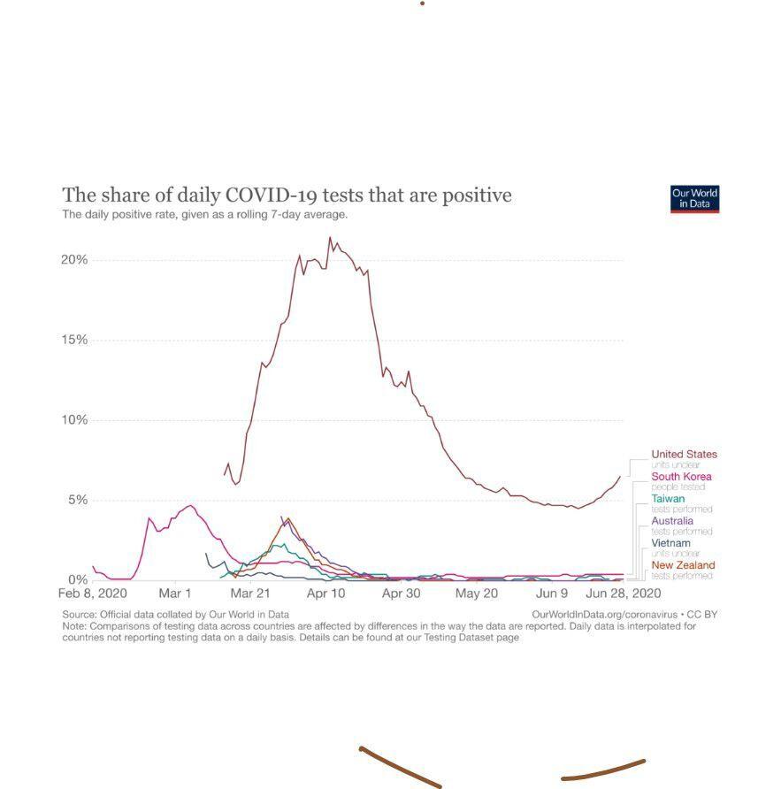 Percentage of positive tests