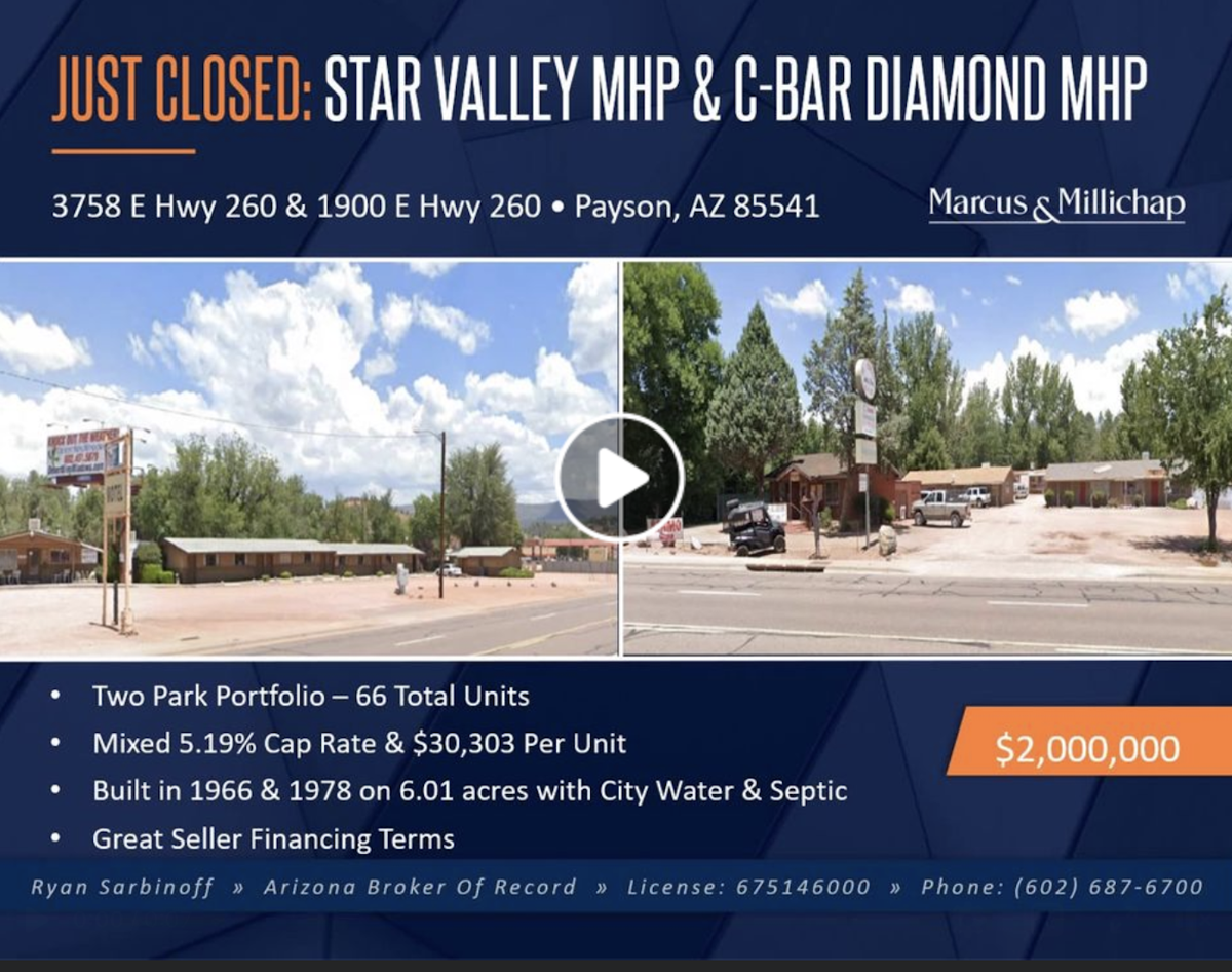 facebook page announcement of the sale of the Star Valley Mobile home park and C-bar diamond mhp