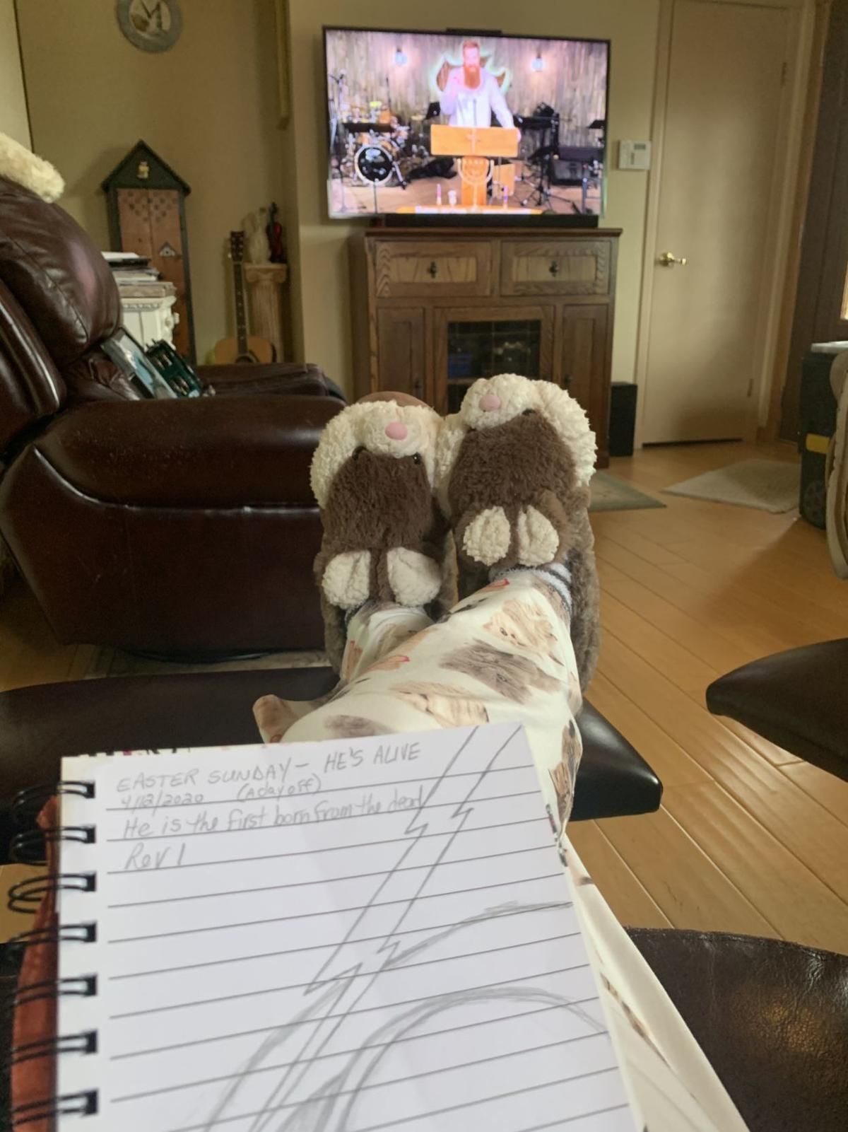 Easter bunny slippers and church on TV Carol Quigley