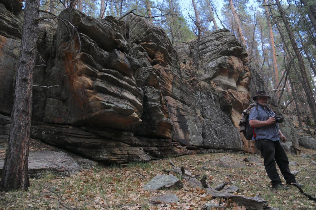 Pete near rock cliffs Clover Creek