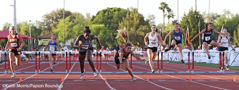 State Track Girls 300 Hurdles Finish Wide