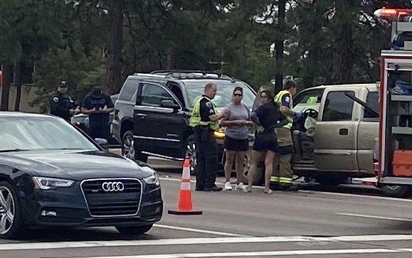 Three-vehicle accident