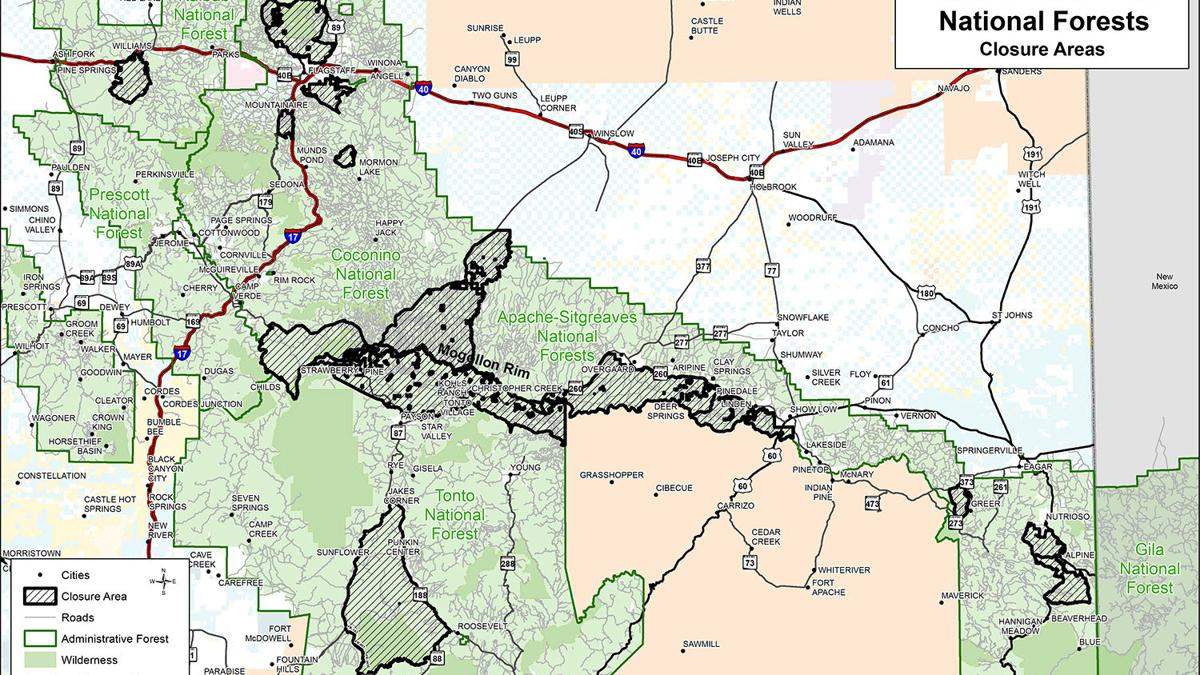 Four Forest Closure Areas: Tonto, Apache-Sitgreaves, Coconino & Kaibab & what's open around Payson