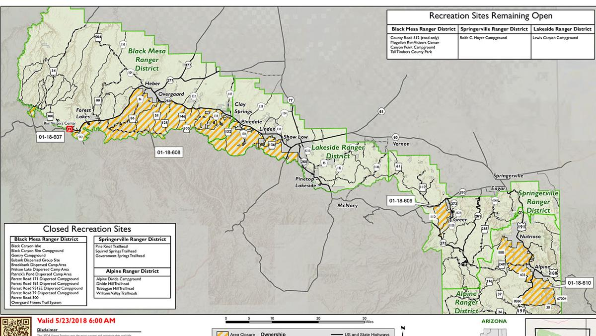Apache-Sitgreaves NF area closures implemented to protect values at risk of wildfire