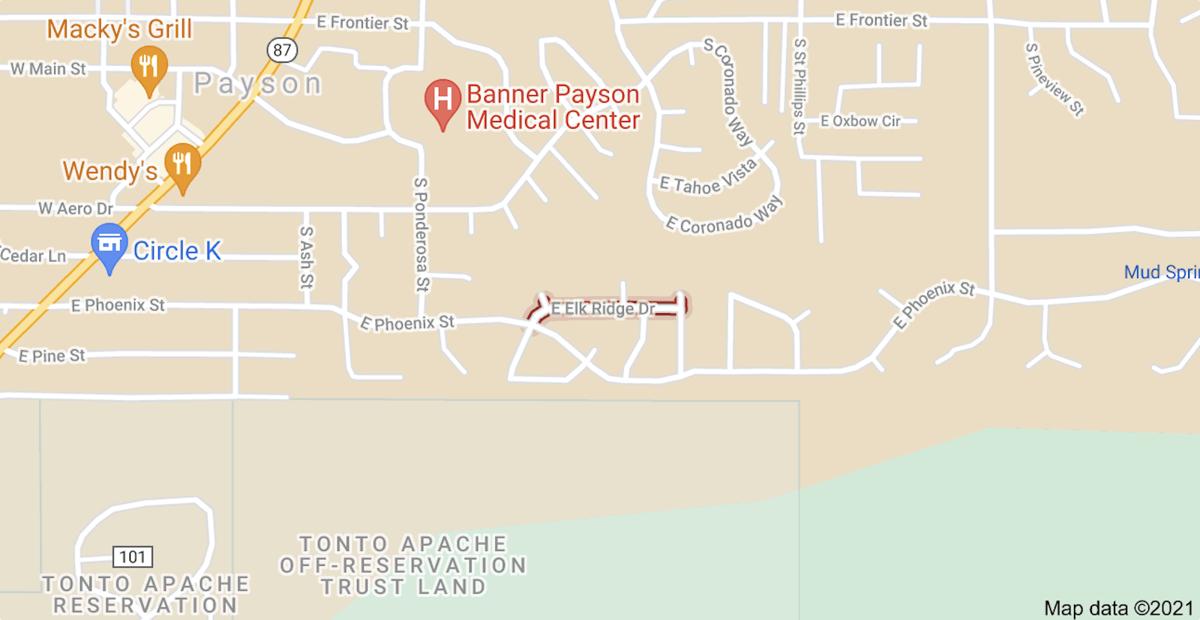 Map of location of Elk Ridge subdivision