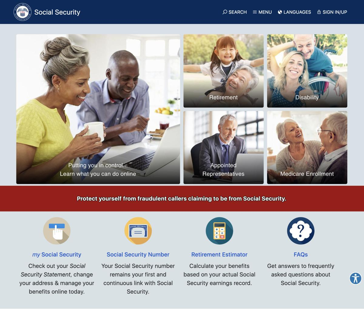 Social Security Administration website screenshot 1