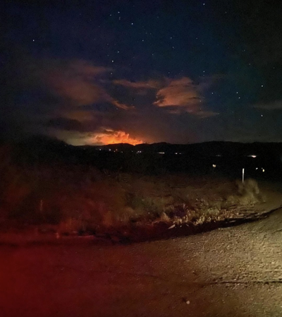 View of the Telegraph and Mescal Fires from Tonto Basin on June 7, by Shelby Paige Hill.