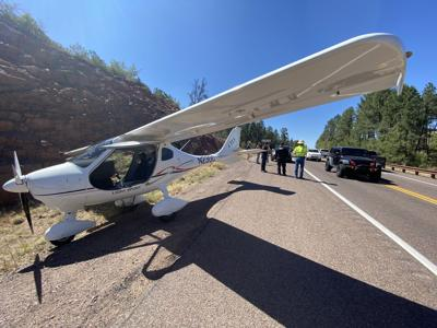 Wide angle view of emergency landing plane