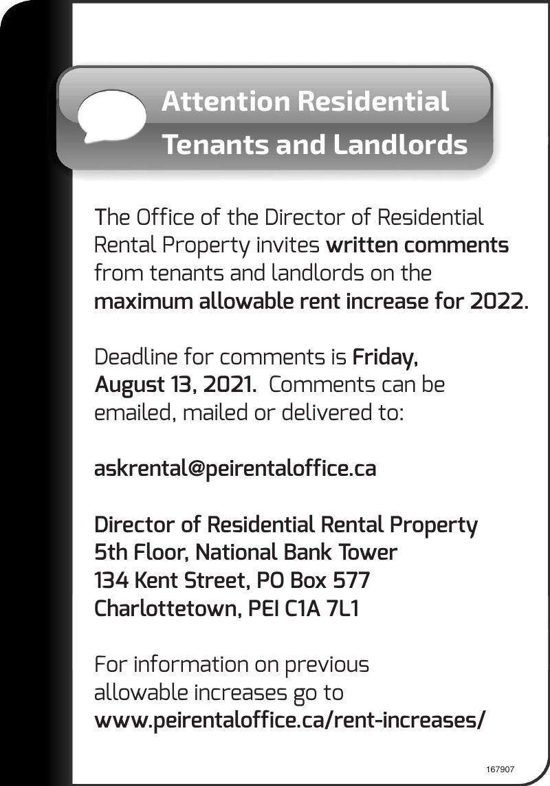 Attention Residential Tenants and Landlords