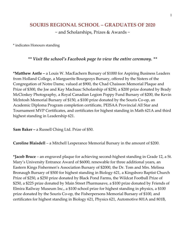 Souris Graduates 2020 Scholarships, Prizes & Awards