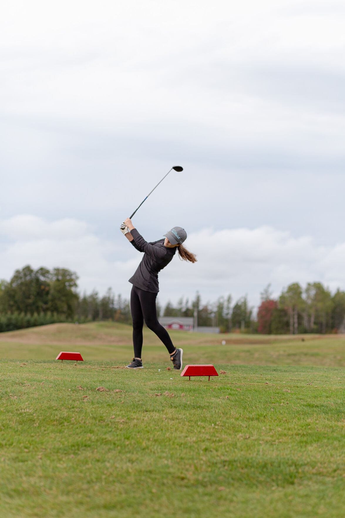 Brayah MacDonald takes her opening shot for the 2020 PEISAA provincial golf tournament
