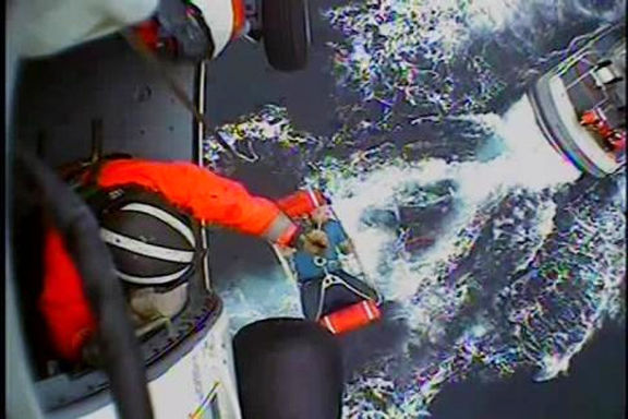 Luke Arbuckle being transferred during rescue