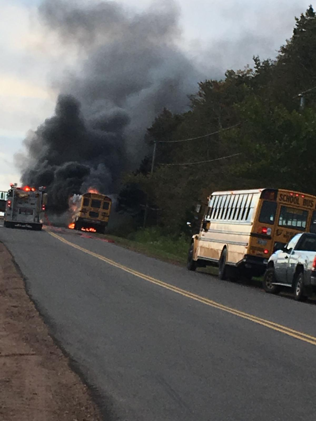 School bus destroyed in early morning fire - driver safe , no students on board