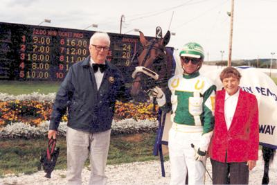 Owner Sandy Fraser and driver Russell Burgoyne with Diplomat Katie