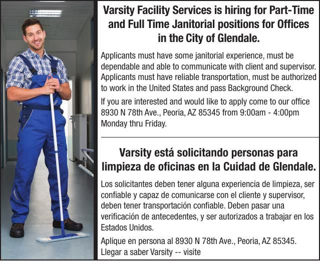 Varsity Facility Services is hiring for Part-Time