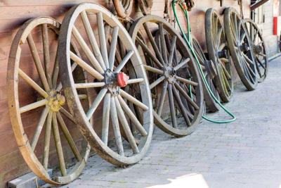 Old wooden wheels