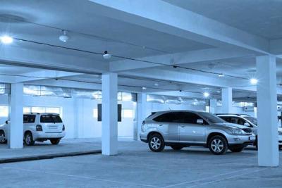 underground parking, blue toning