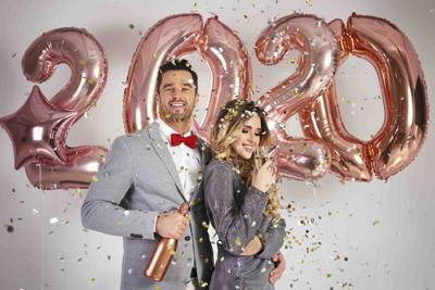 Loving couple celebrating New Year