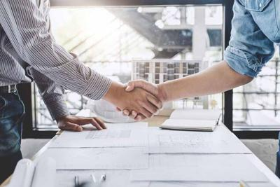 Meeting and greeting, Two engineer or architect meeting for project, handshake after consultation and conference new project plan, contract for both companies, success, partnership