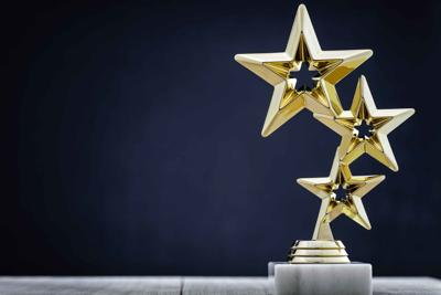 Gold award with three stars