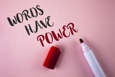 Conceptual hand writing showing Words Have Power. Business photo showcasing Statements you say have the capacity to change your reality written on Plain Pink background Marker next to it.