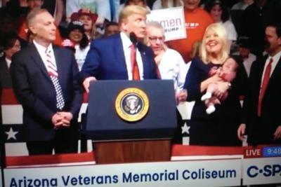 Debbie Lesko and her grandson joined President Donald Trump