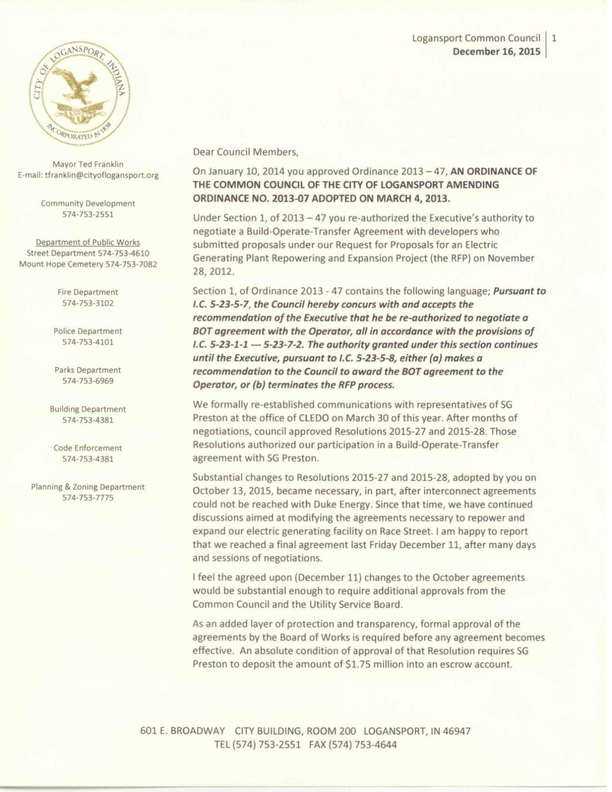 Franklin's letter to council