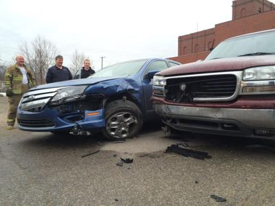 Two-vehicle crash at High and Fourth streets